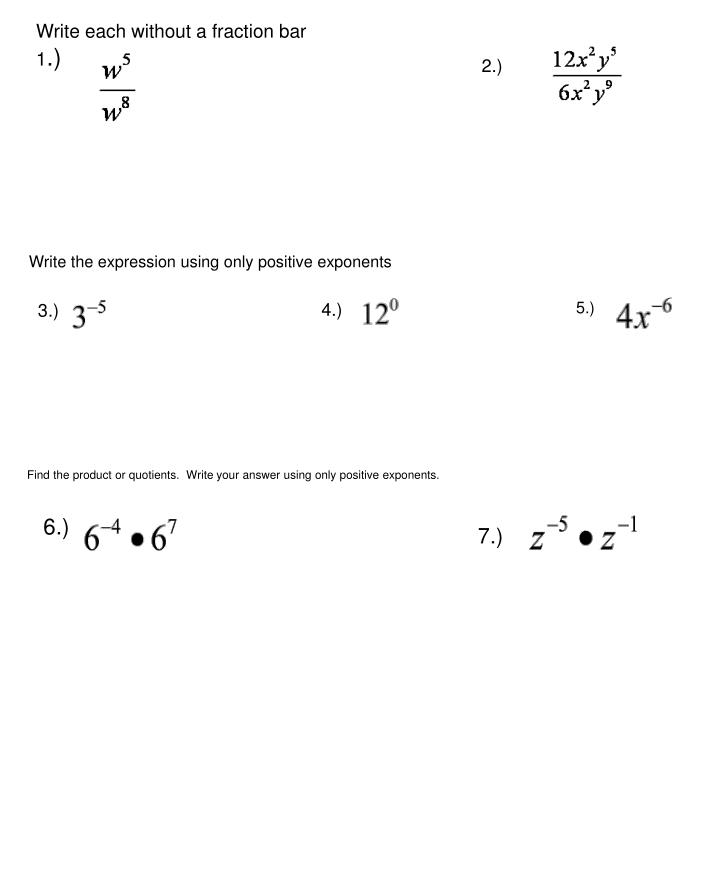 Write each without a fraction bar
