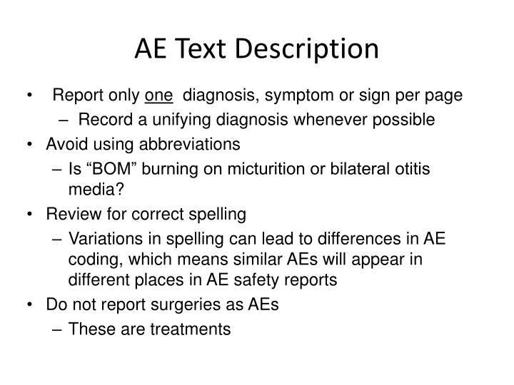 AE Text Description