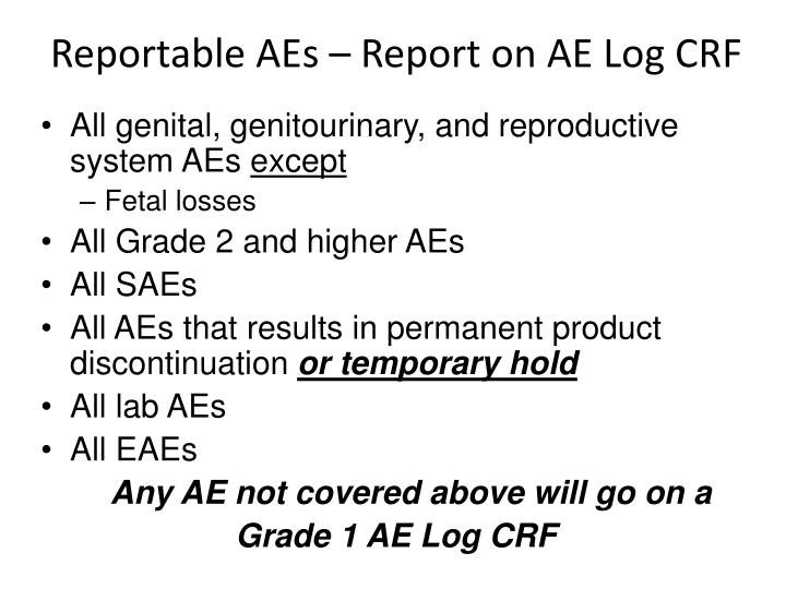 Reportable aes report on ae log crf