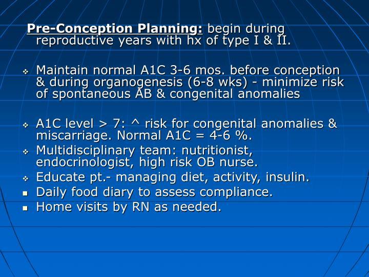 Pre-Conception Planning: