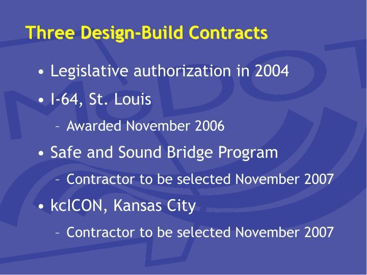 Three design build contracts