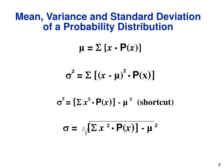 Mean, Variance and Standard Deviation of a Probability Distribution