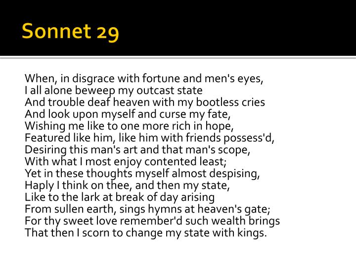 shakespeare sonnet 29 rhyme scheme