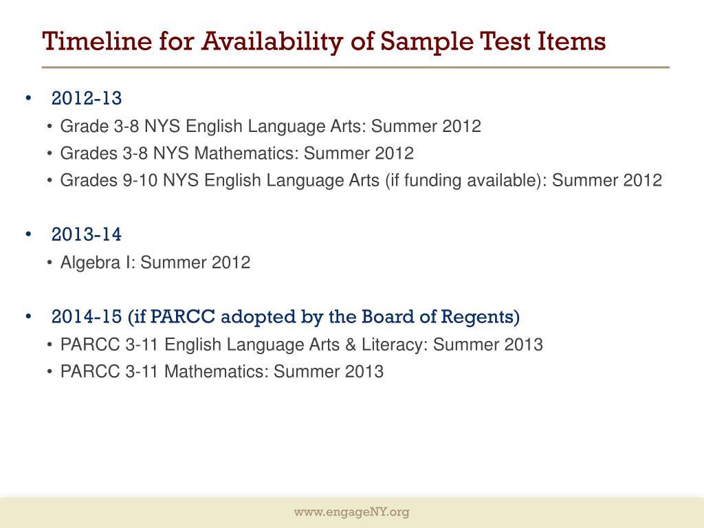 Language arts test items