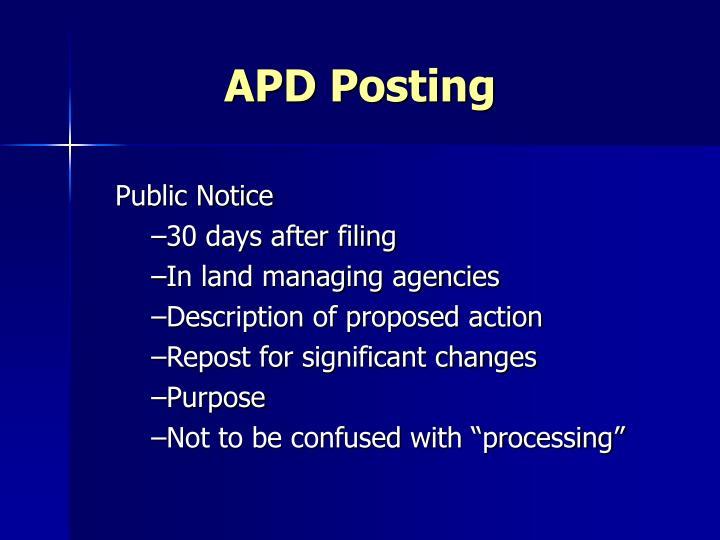 APD Posting