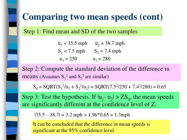 Comparing two mean speeds (cont)