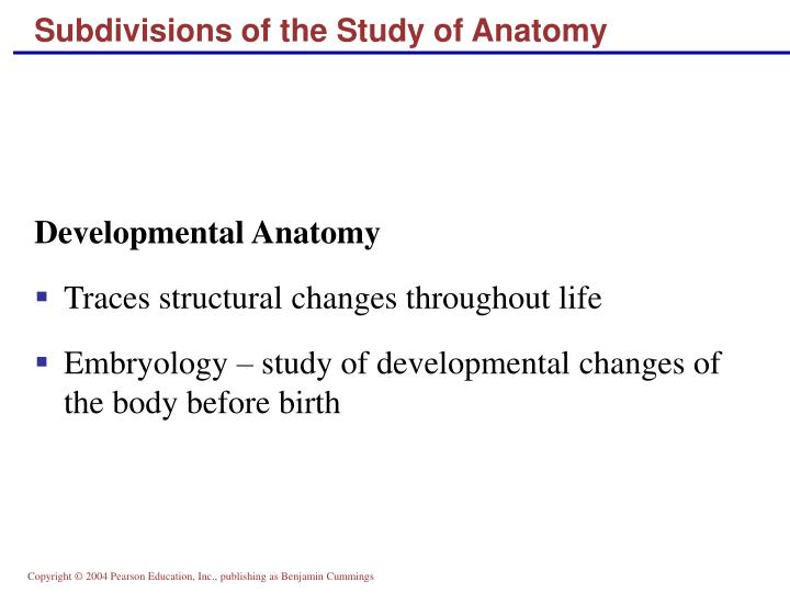 Subdivisions of the Study of Anatomy