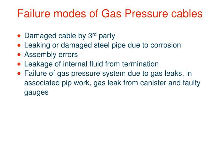 Failure modes of Gas Pressure cables