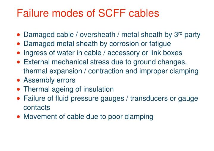 Failure modes of SCFF cables