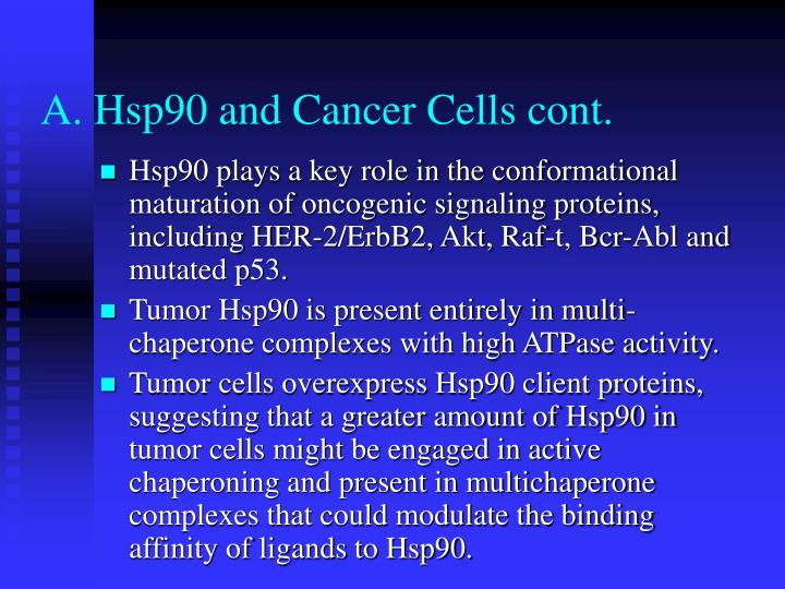 A. Hsp90 and Cancer Cells cont.