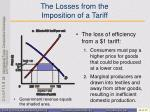 the losses from the imposition of a tariff