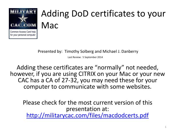 Adding dod certificates to your mac