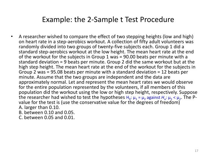 Example: the 2-Sample t Test Procedure
