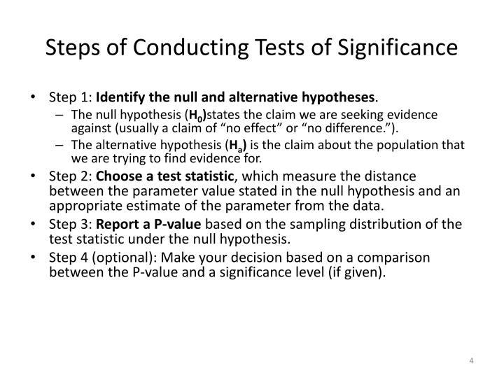 Steps of Conducting Tests of Significance