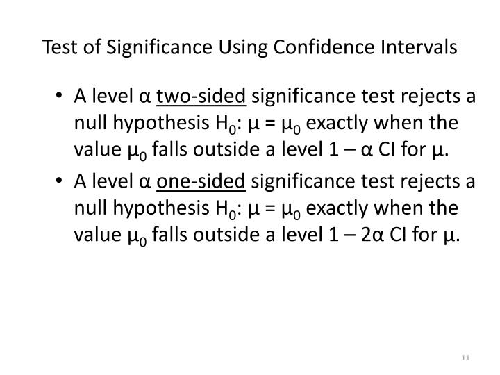 Test of Significance Using Confidence Intervals