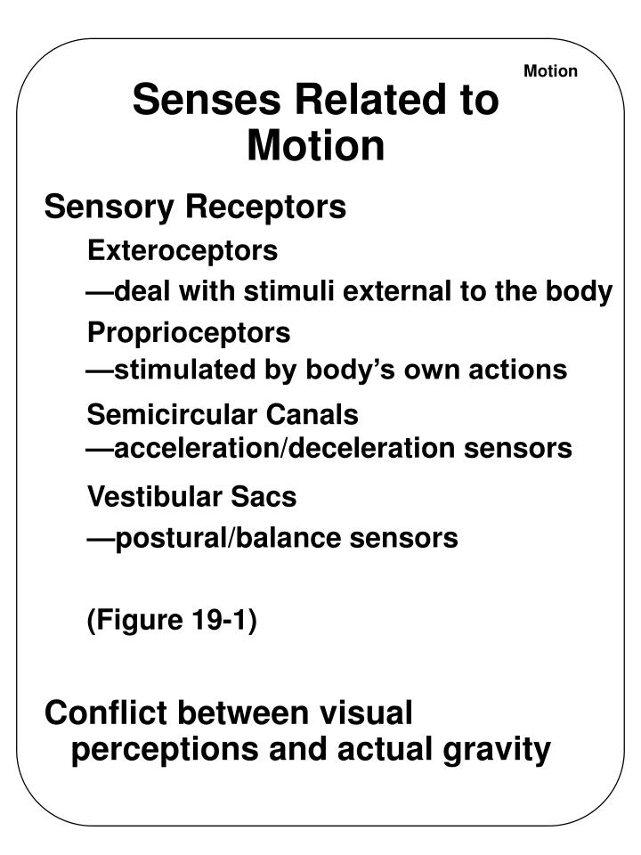 Senses related to motion