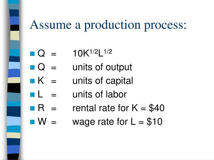 Assume a production process: