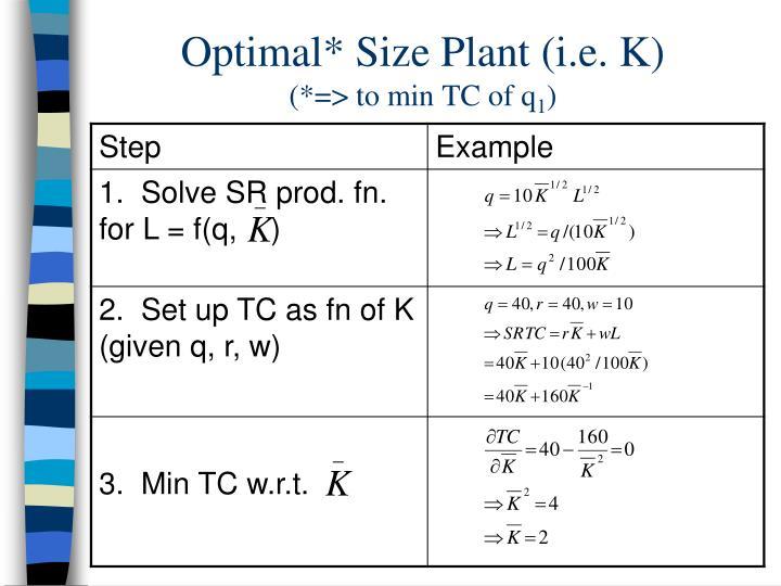 Optimal* Size Plant (i.e. K)