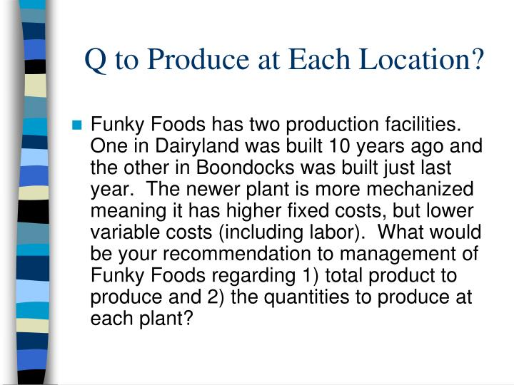 Q to Produce at Each Location?