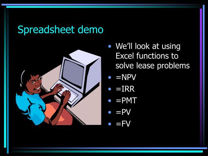 Spreadsheet demo