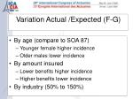 variation actual expected f g