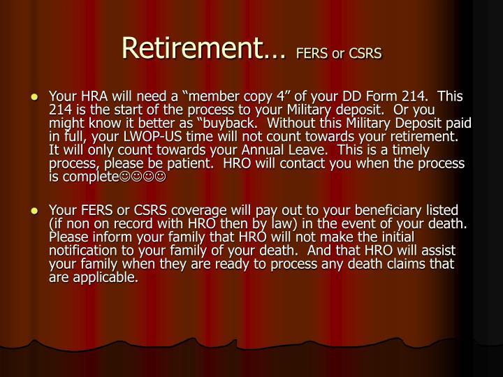 Retirement…