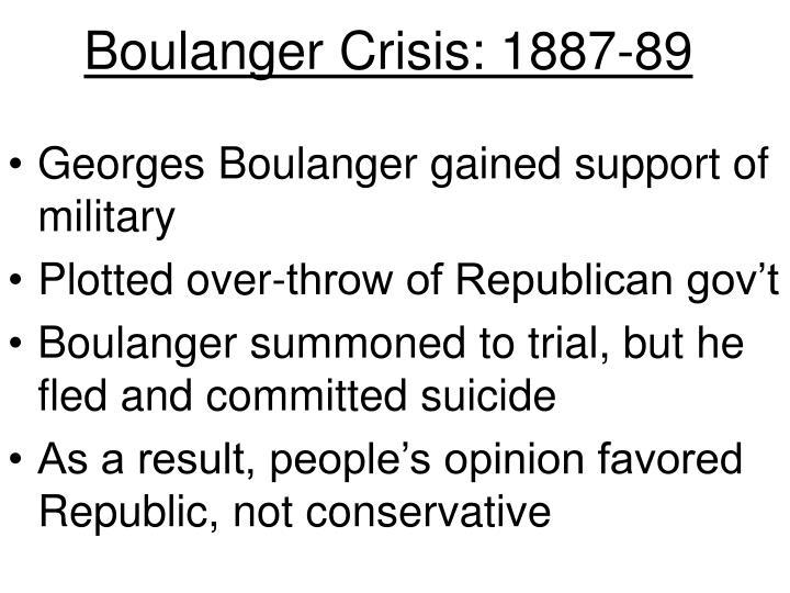 Boulanger Crisis: 1887-89