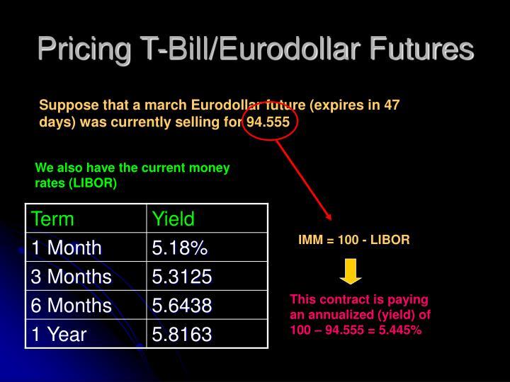Pricing T-Bill/Eurodollar Futures
