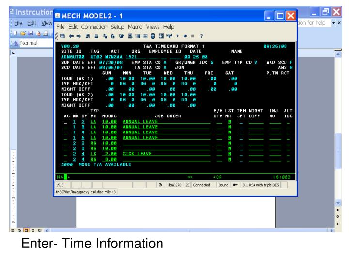 Enter- Time Information