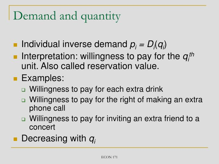 Demand and quantity