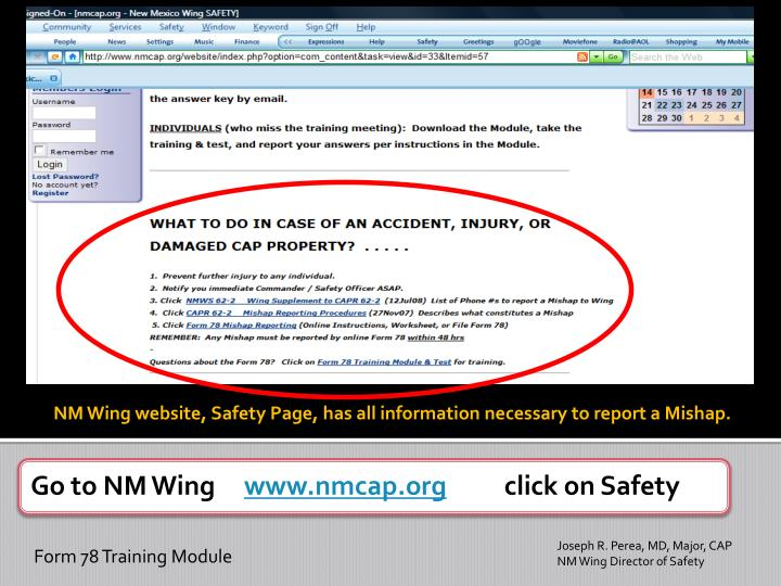 NM Wing website, Safety Page, has all information necessary to report a Mishap.