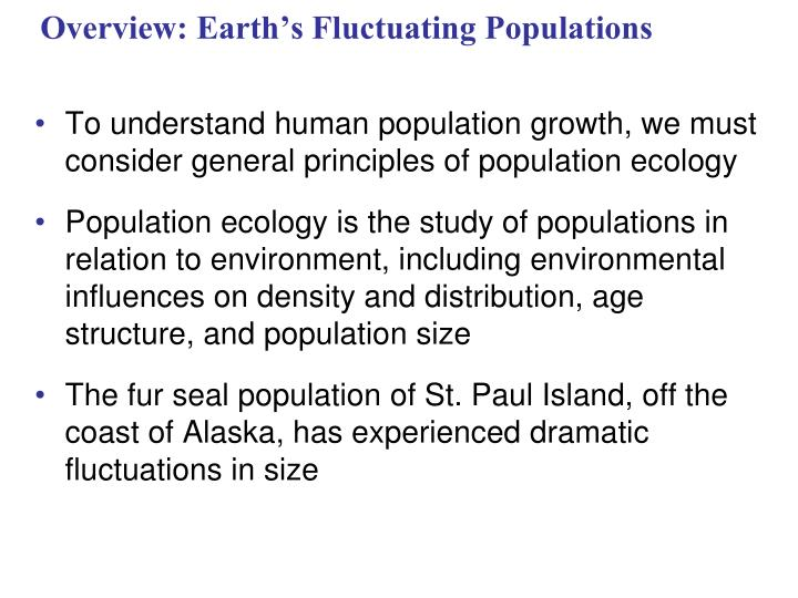 overview earth s fluctuating populations