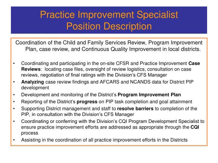 Practice improvement specialist position description