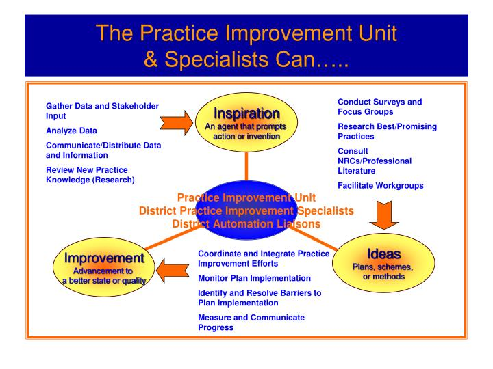 The practice improvement unit specialists can