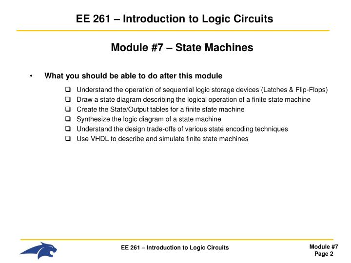 Ee 261 introduction to logic circuits1