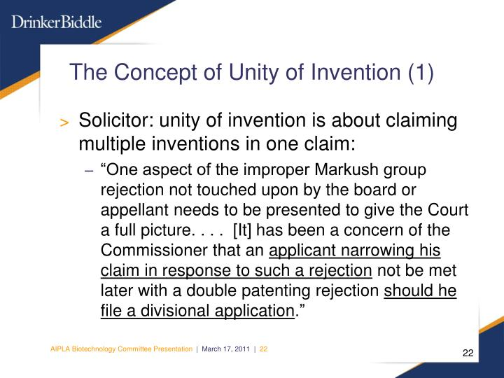 The Concept of Unity of Invention (1)