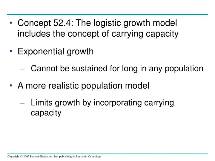 Concept 52.4: The logistic growth model includes the concept of carrying capacity