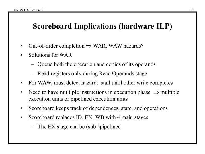 Scoreboard implications hardware ilp