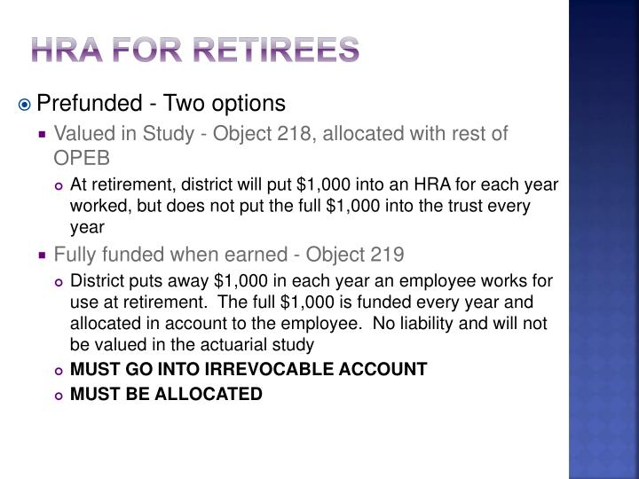 HRA for retirees