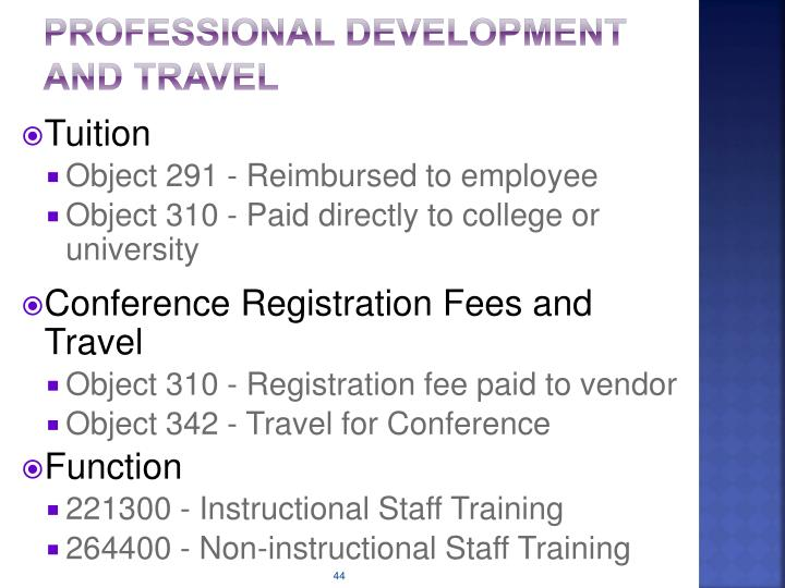 Professional Development and Travel