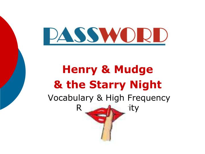 henry mudge the starry night vocabulary high frequency review activity n.