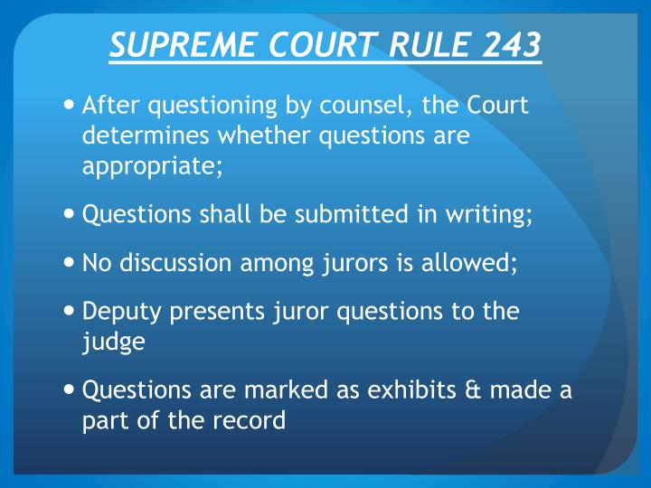 Supreme court rule 243