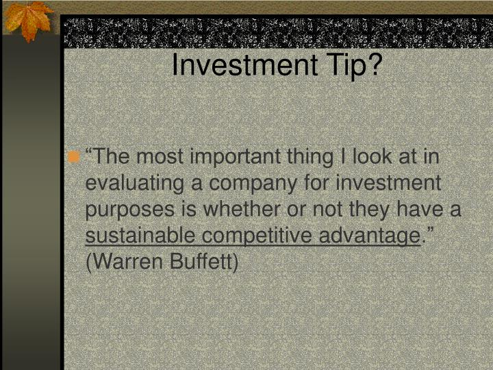 Investment tip