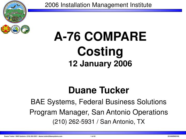 a 76 compare costing 12 january 2006