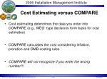 cost estimating versus compare