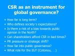 csr as an instrument for global governance