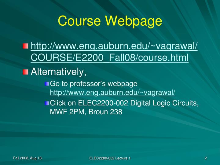 Course webpage