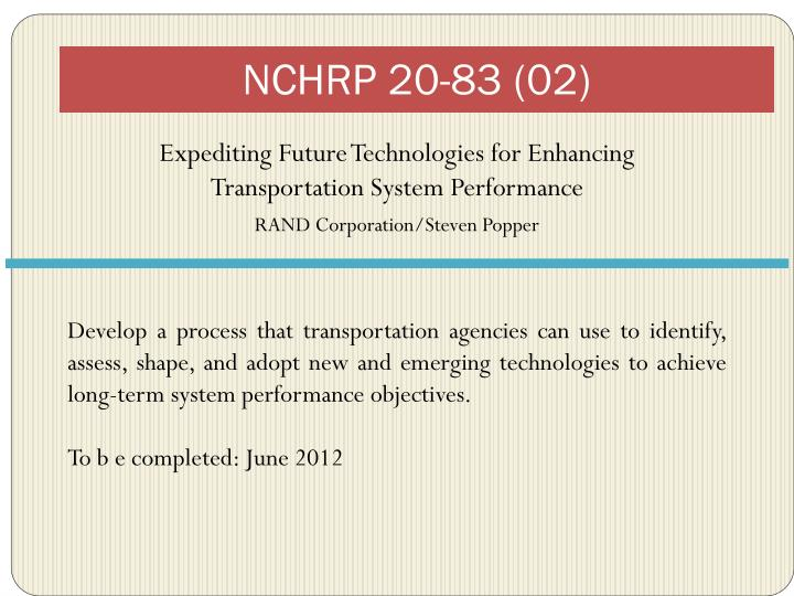 NCHRP 20-83 (02)