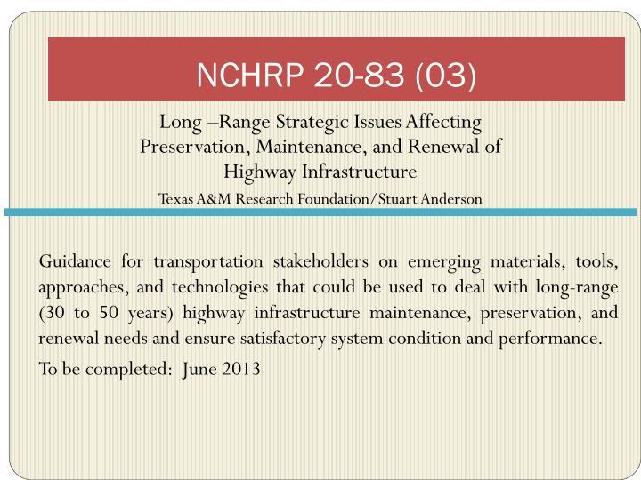 NCHRP 20-83 (03)