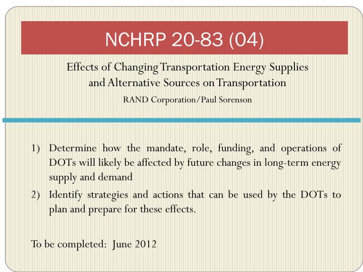 NCHRP 20-83 (04)